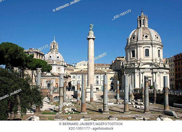 Imperial Fora with the Trajan's Column and the Church Santissimo Nome Di Maria, Rome, Italy, Europe
