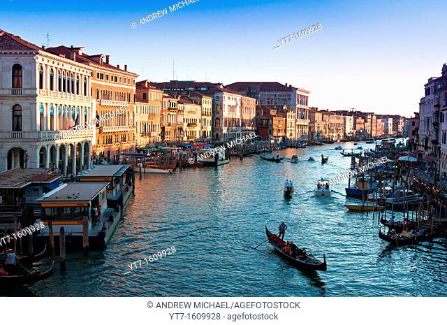Venice Grand Canal with gondolas at sunset  Italy