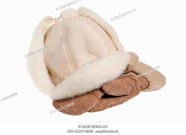 women's winter fur hat and mittens, isolated on white