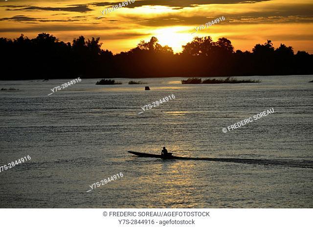Mekong river at sunrise near Don Khong island in South Laos,Southeast Asia