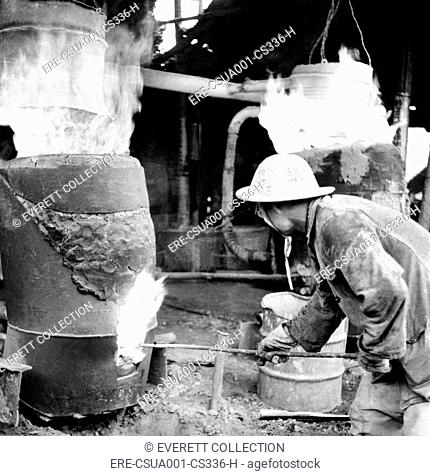 Backyard furnace in China during the disastrous 'Great Leap Forward.' The government encouraged peasants to make small quantities of steel in primitive backyard...