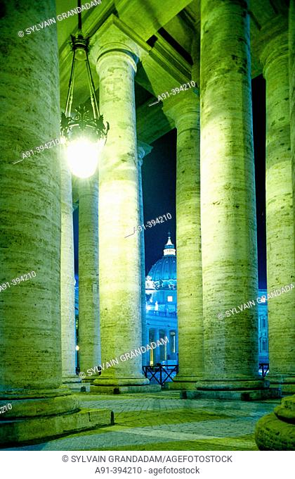 St Peters square and Bernini columnade in Vatican. City of Rome. Lazio. Italy