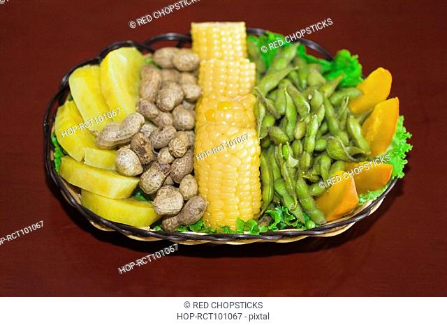 Food stuff symbolizing Good Harvest in a plate, HohHot, Inner Mongolia, China