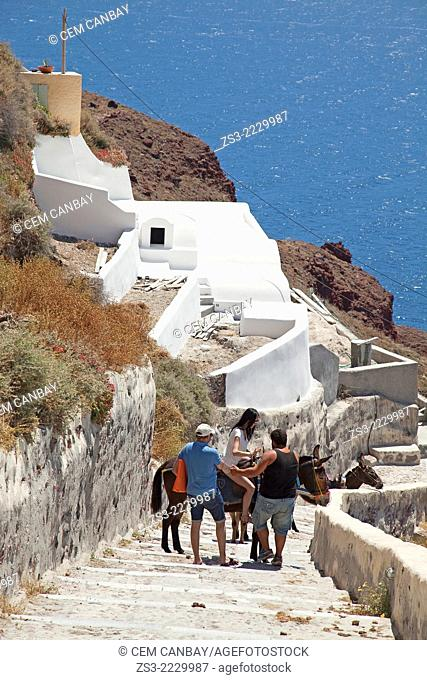 Tourist woman trying to ride a donkey at the steps leading to the Ammoudi bay, Oia town, Santorini, Cyclades Islands, Greek Islands, Greece, Europe