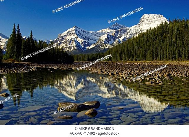 Athabasca River and Mount Fryatt at centre and Geraldine Peak at right, Jasper National Park, Alberta, Canada