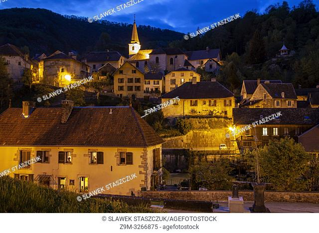 Evening in Lods village, Franche-Compte, France