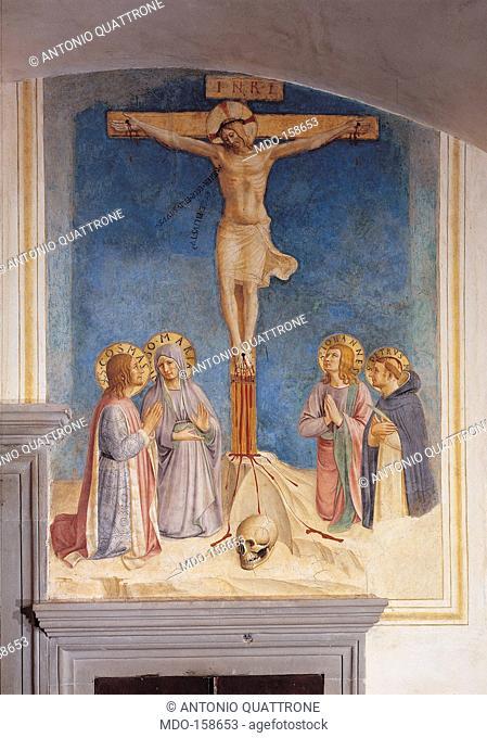 The Crucifixion, by Guido di Pietro (Piero) known as Beato Angelico, Benozzo di Lese di Sandro known as Benozzo Gozzoli, 1438 - 1446 about, 15th Century, fresco