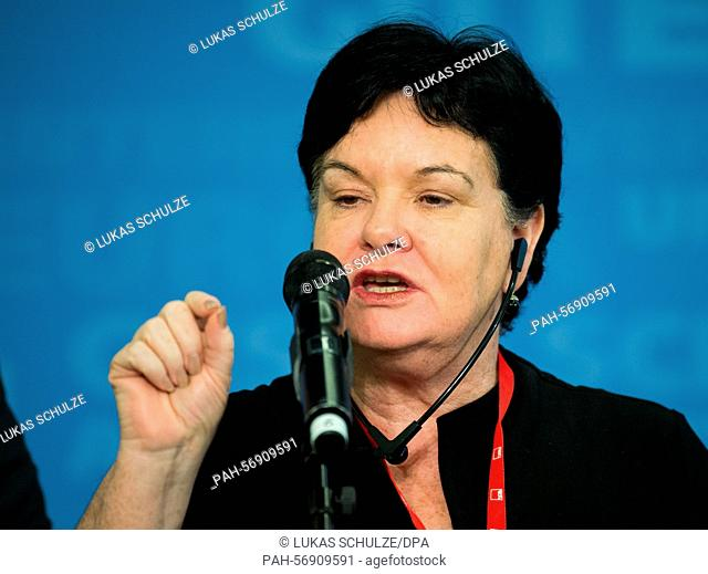 Sharan Burrow, General Secretary of the International Trade Union Confederation (ITUC) speaks during a press conference at the G7 dialogue forum of trade unions...