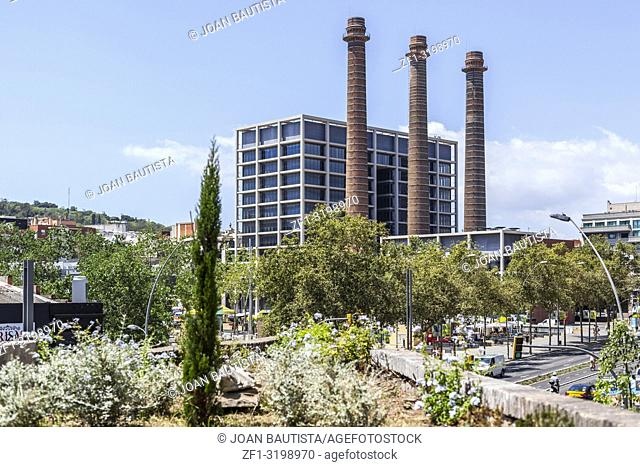 Street view, Paralelo avenue, with three chimney, Barcelona