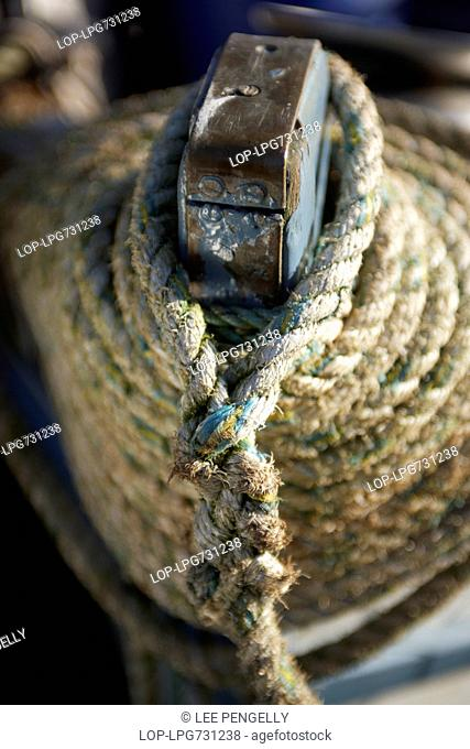 Detail of ship stern mooring rope Stock Photos and Images