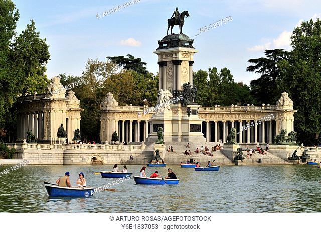 Alfonso XII Monument  El Retiro Park  Madrid, Spain