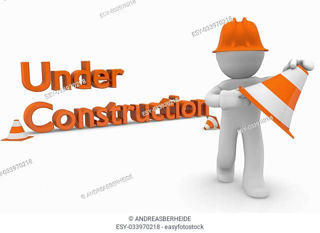 Under construction concept, 3d image