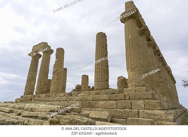 The Temple of Juno in the Valley of the Temples at Agrigento, Sicily, Italy