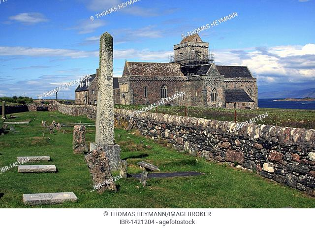 Iona Abbey, cemetery Road of the Dead, burial place of the ancient Scottish kings, Iona island, Inner Hebrides, Scotland, United Kingdom, Europe