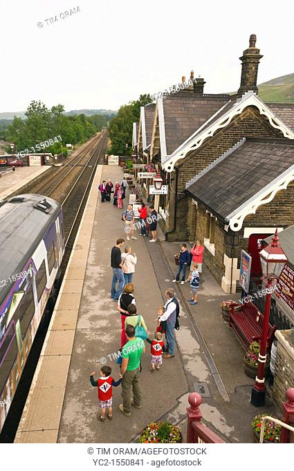 The Railway Station at Settle in North Yorkshire , England , Britain , Uk