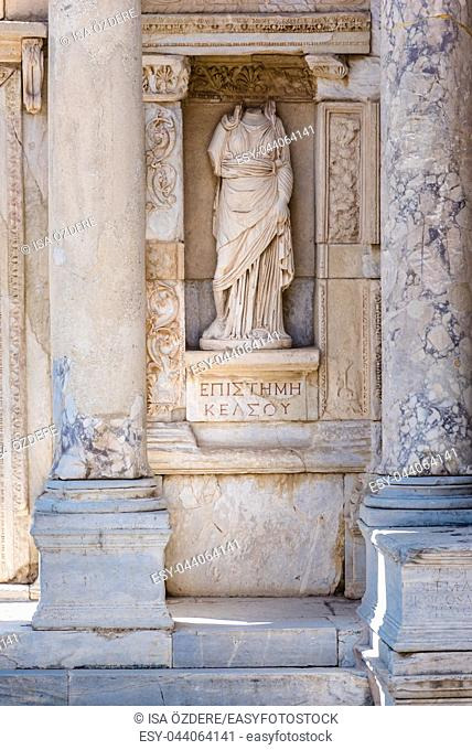 Episteme, knowledge Statue in Ephesus historical ancient city, in Selcuk,Izmir,Turkey