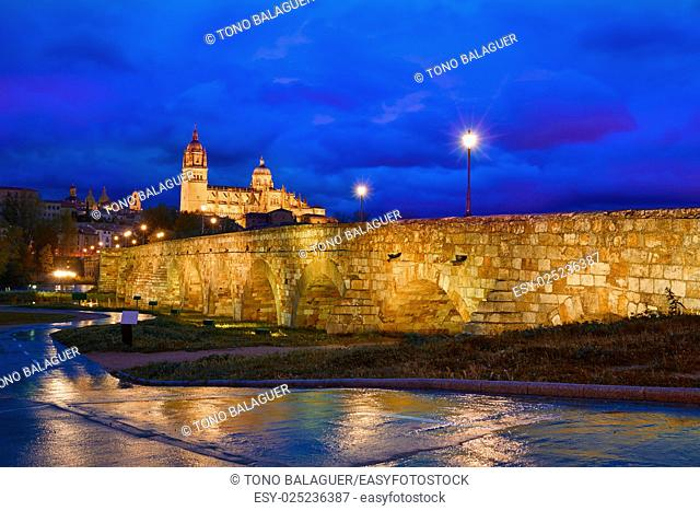 Salamanca skyline sunset and roman bridge over Tormes river in Spain