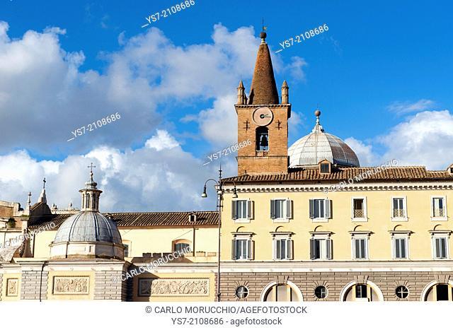 The Basilica of Santa Maria del Popolo, an Augustinian church in Rome, Italy, Piazza del Popolo, Rome, Lazio, Italy