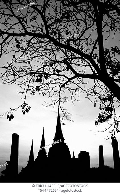 Silhouettes of the chedi of Wat Phra Si Sanphet