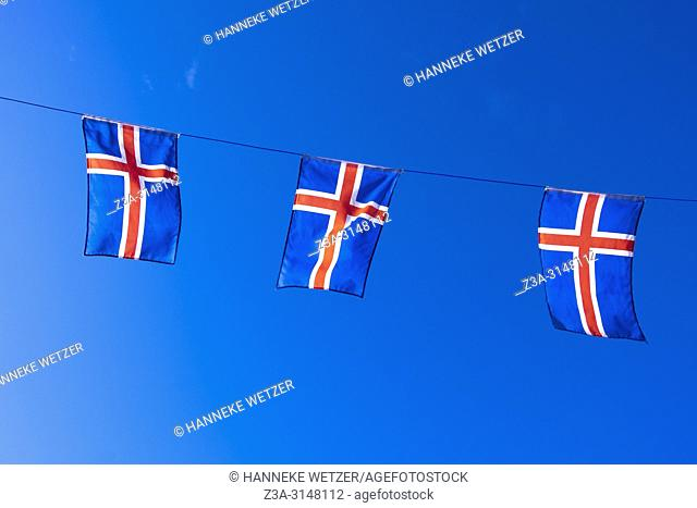 Flags of Iceland in Reykjavic, Iceland