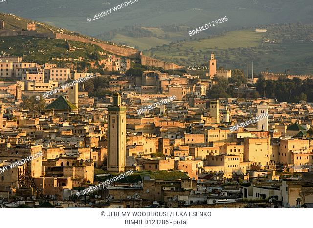 Aerial view of Fes cityscape, Fes-Boulemane, Morocco