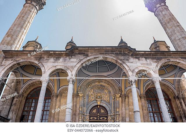 Exterior detailed view of ancient Aziziye Mosque. The mosque is a baroque and traditional Ottoman architecture in Konya,Turkey. 28 August 2017