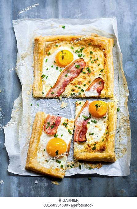 Eggs and bacon puff pastry savoury tart
