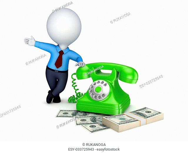 3d small person near vintage telephone and stack of money