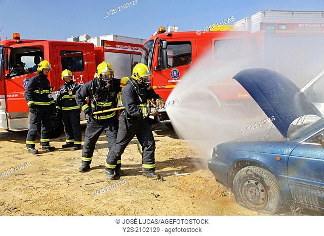 Firefighters, Dos Hermanas, Seville-province, Region of Andalusia, Spain, Europe
