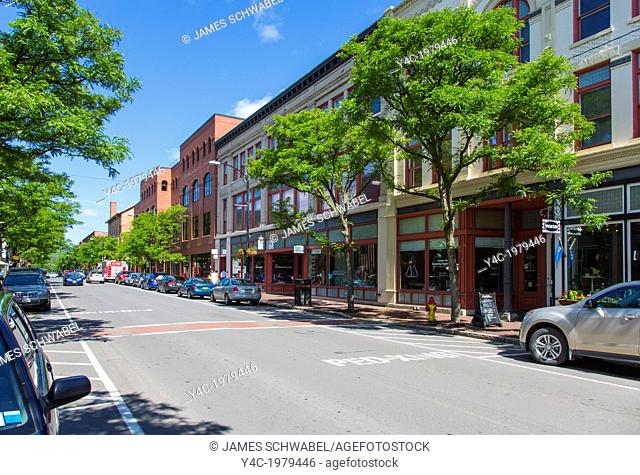 Market Street in the historic downtown Gaffer District of Corning New York