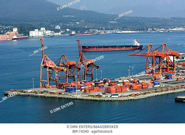 Container harbour at Burrard inlet in Vancouver, British Columbia, Canada