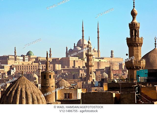 View From above abo hereba mosque , Old Cairo, Egypt