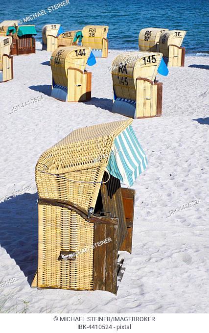 Beach chairs on a sandy beach, Baltic Sea, Fehmarn Island, Schleswig-Holstein, Germany