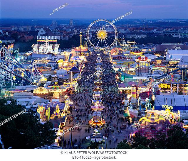 View from St Pauls Church to the Oktoberfest at dawn. Munich. Germany