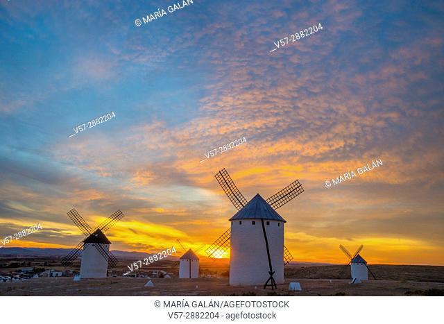 Windmills at sunset. Campo de Criptana, Ciudad Real province, Castilla La Mancha, Spain