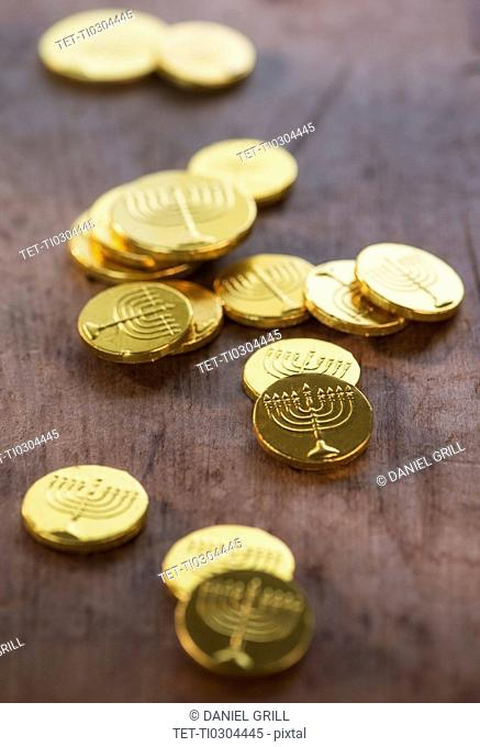 Heap of chocolate coins
