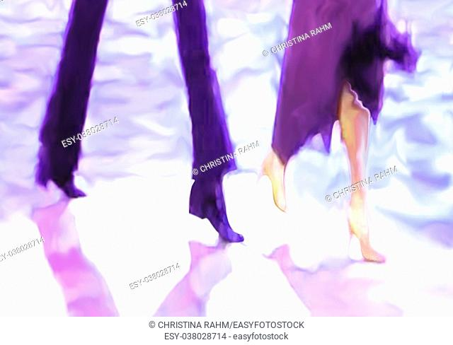 Ballroom dance floor abstract 20, digital painting in purple, white, dark blue, bright turquoise, male and female legs cast shadows in spotlight