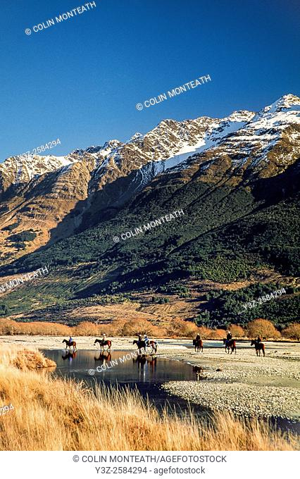 Horse trekking on banks of Dart River, Glenorchy, Otago