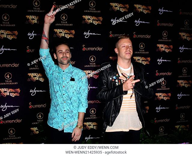 Macklemore and Ryan Lewis at Surrender Nightclub in Encore at Wynn Las Vegas to perform at the club's 4 year anniversary celebration Featuring: Macklemore