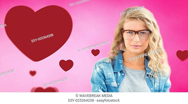 Composite image of portrait of businesswoman wearing eyeglasses with arms crossed