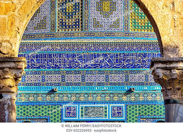 Dome of the Rock Islamic Designs Mosque Temple Mount Jerusalem Israel. Built in 691 One of most sacred spots in Islam where Prophet Mohamed ascended to heaven...