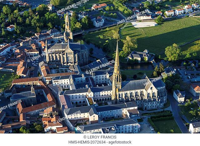France, Vendee, Saint Laurent sur Sevre, Saint Louis Marie Grignion de Monfort basilica and La Sagesse chapel (aerial view)