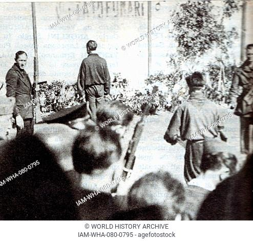 Photograph of the execution of Achille Starace (1889-1945) leader of Fascist Italy. Dated 20th Century