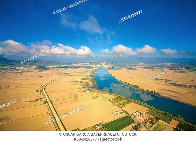 Aerial view of the river Ebro in the natural park of the Ebro Delta. Catalonia, Spain