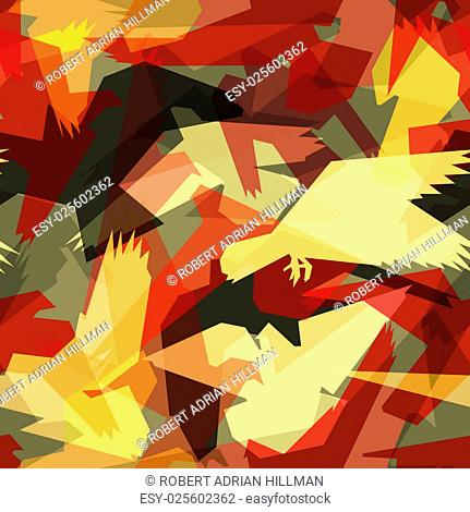 Editable vector seamless tile of abstract flying birds