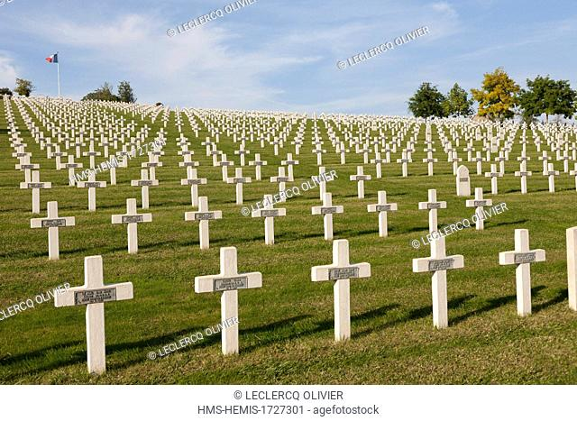 France, Aisne, Craonnelle, Chemin des dames, French military cemetery