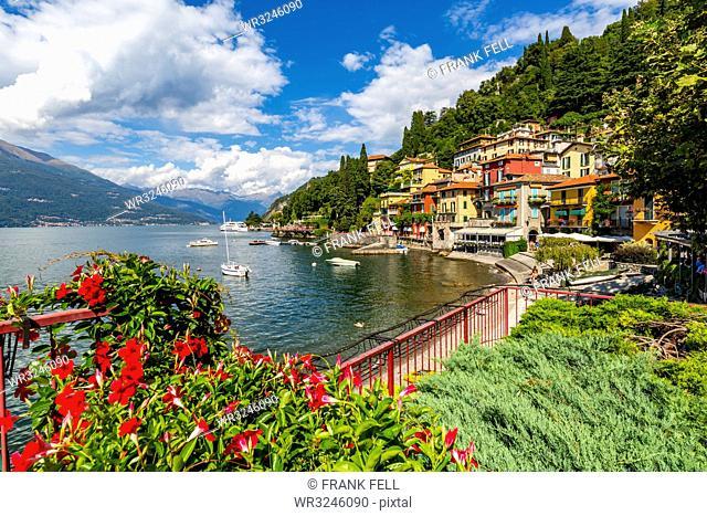 View of Lake Como and village of Vezio, Province of Como, Lake Como, Lombardy, Italian Lakes, Italy, Europe