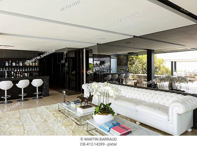 Sofa and bar in modern house