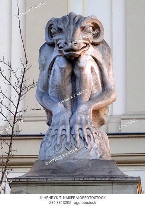 Gargoyle at Czapskich Palace, Krakow, Poland