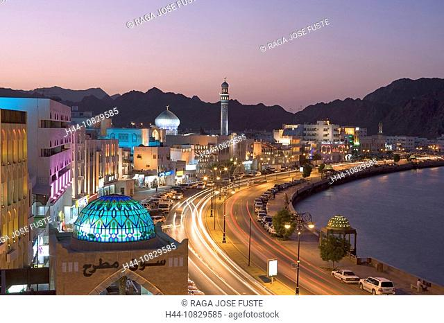 Oman, Arabia, East, Corniche, town, city, At night, night, dusk, twilight, mood, Muttrah, courage yard, Maskat, Muscat